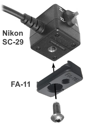 Wimberley FA-11 Flash Bracket Adapter installation on Nikon SC-29 cord